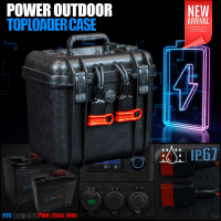 Power Outdoor Toploader Case [empty] with Connections and Voltindicator for 12V LiIon, LiFePo, Lead Batteries