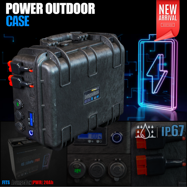 Power Outdoor Case [empty] with Connections and Voltindicator for 12V LiIon, LiFePo, Lead Batteries
